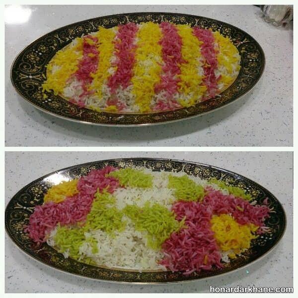 نحوه تزیین برنج با رنگ خوراکی