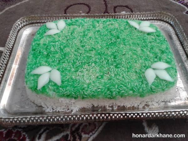 انواع بسیار شیک دیزاین برنج با رنگ غذا