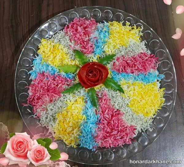 انواع تزیین برنج با رنگ غذا
