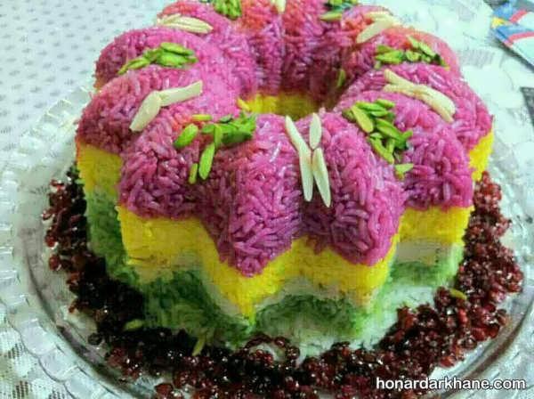 انواع جذاب تزیین برنج با رنگ خوراکی