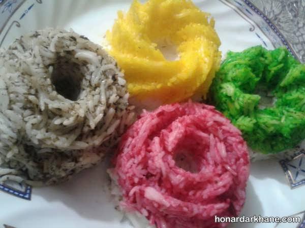 انواع تزیین برنج با رنگ به سبکی جالب
