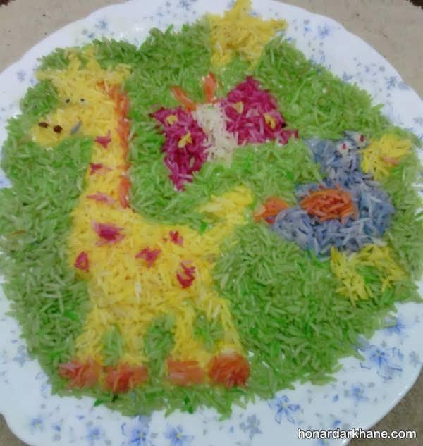 مدل های فانتزی تزیین برنج با رنگ طبیعی