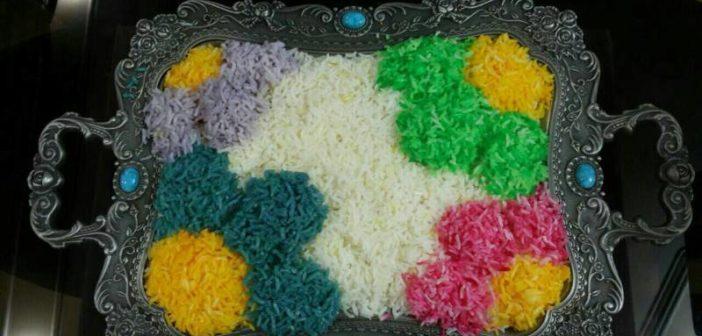 نحوه تزیین برنج با رنگ غذا