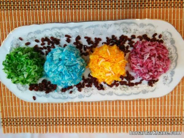مدل های زیبا تزیین برنج با رنگ