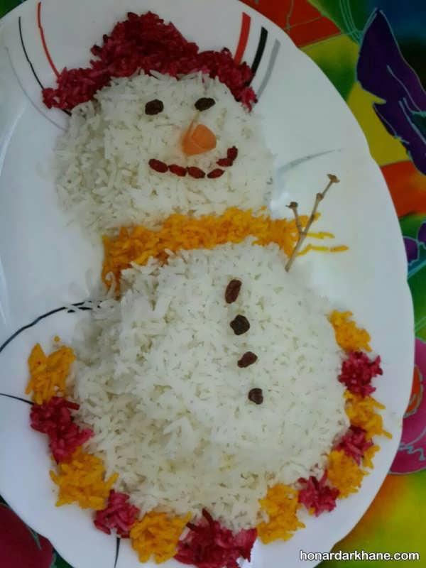 مدل های جدید تزیین برنج با رنگ خوراکی