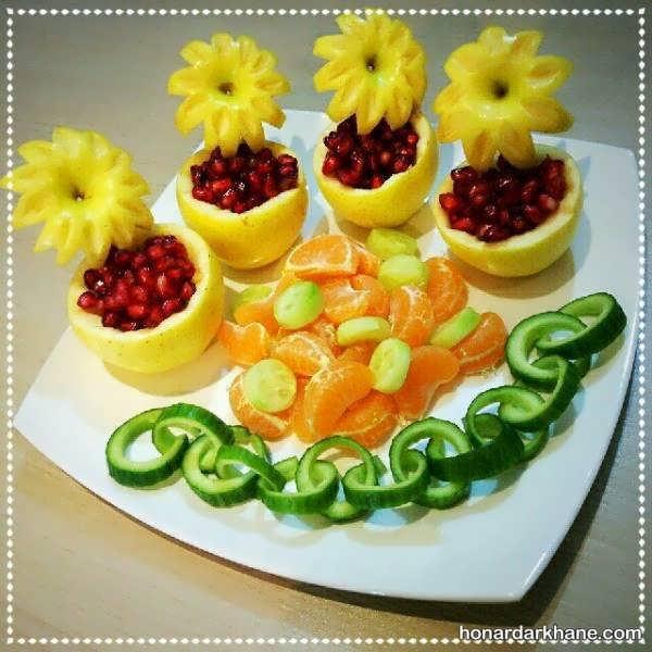 جالب ترین انواع تزیین میوه برای شب چله
