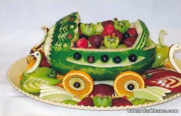 انواع تزیین میوه برای شب یلدا