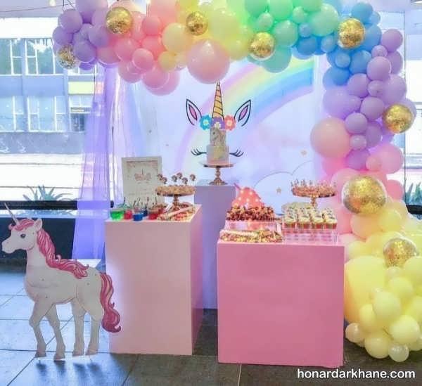 جشن تولد دخترانه با تم اسب یونیکون