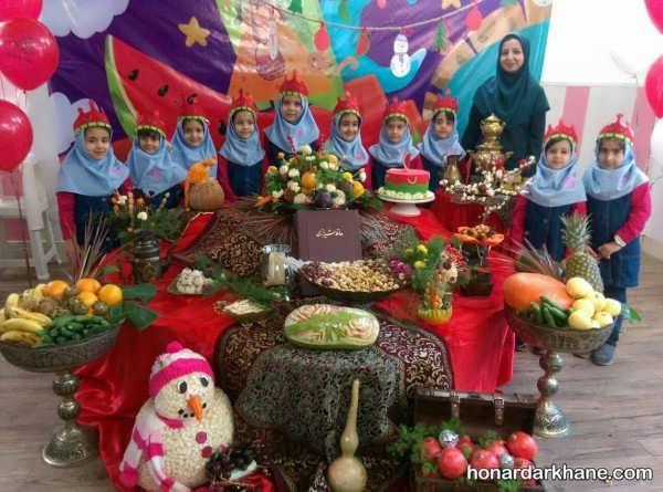 تزیینات مختلف شب یلدا در مدرسه