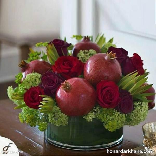 تزیین سبد میوه با گل