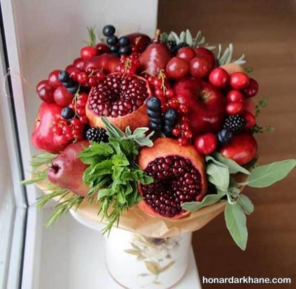 تزیین ظرف میوه با گل