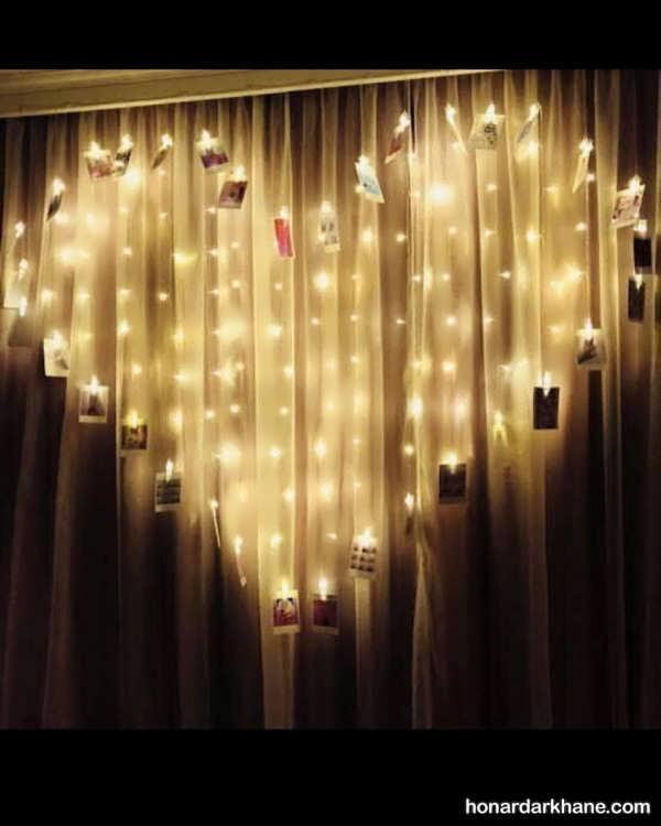 انواع آذین زیبا و شیک اتاق خواب با ریسه نور
