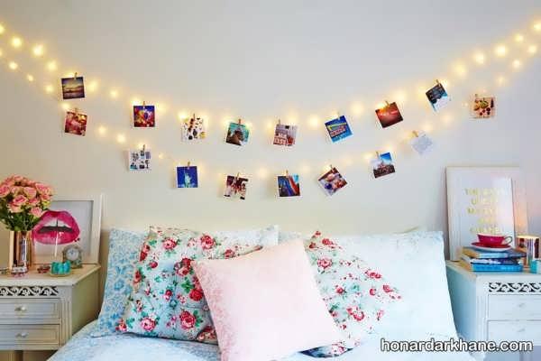 انواع تزیین رمانتیک اتاق خواب با ریسه