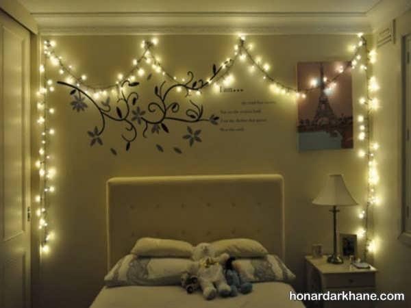 انواع ایده های خلاقانه تزیین اتاق خواب با ریسه
