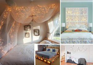 انواع تزیین جالب و رمانتیک اتاق خواب با ریسه نور