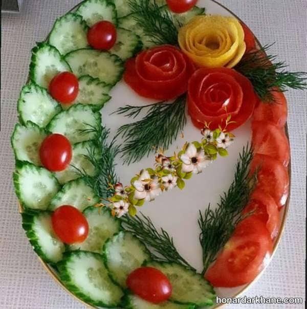 انواع تزیین خاص سالاد با گوجه