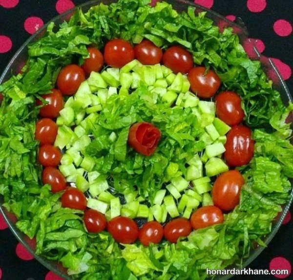مدل های متنوع تزیین سالاد با گوجه گیلاسی