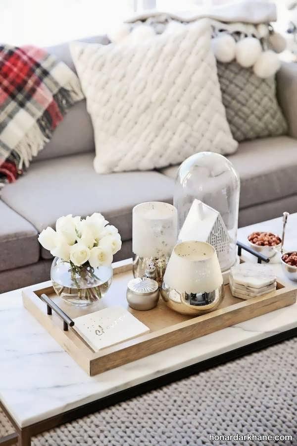 انواع تزیین شیک و جدید میز جلو مبلی