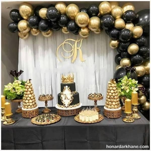 انواع دیزاین جالب جشن تولد با تم سیاه و طلایی