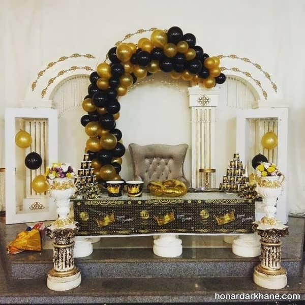 انواع برپایی جشن تولد با تم سیاه و طلایی
