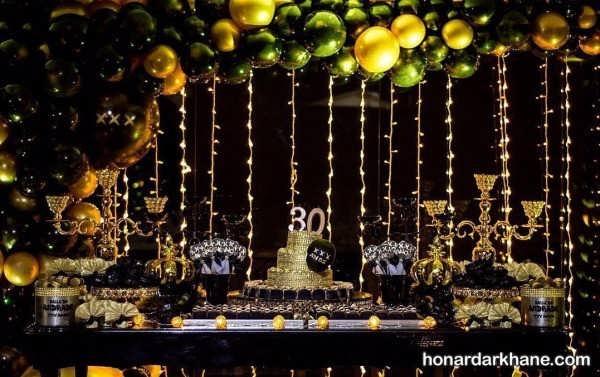 انواع دیزاین جشن تولد با تم سیاه و طلایی