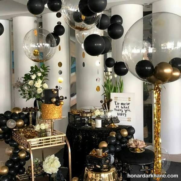 مدل های متنوع برگزاری جشن تولد با تم سیاه و طلایی