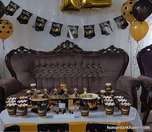 مدل های زیبا و جالب دیزاین مراسم تولد با تم طلایی و سیاه