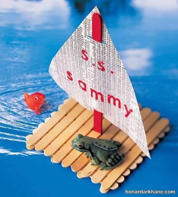 انواع کارهنری به شکل قایق با کاغذ رنگی