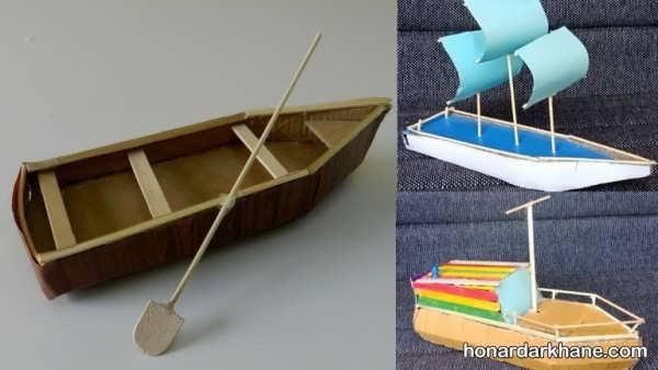 انواع کار هنری به شکل قایق با چوب بستنی