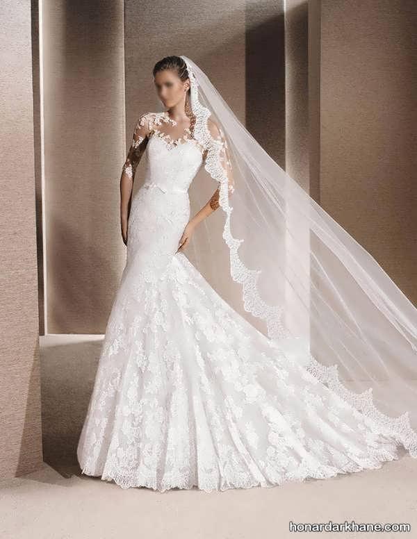 انواع لباس عروس دنباله دار زیبا