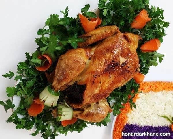 انواع دیزاین مرغ شکم پر با سبزیجات