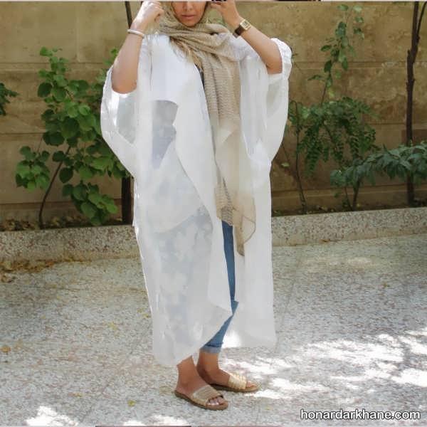 مدل مانتو سفید شیک و جدید با ست های بسیار زیبا و خاص