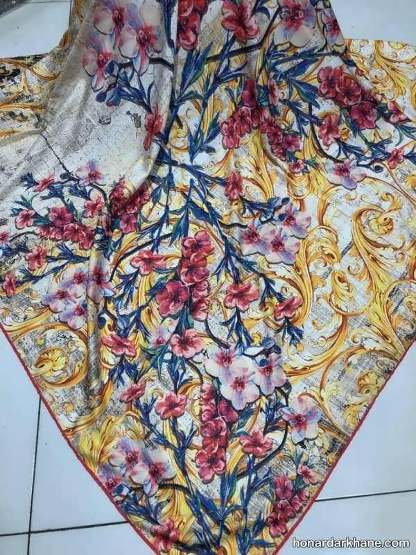 انواع روسری گلدار در طرح های جدید