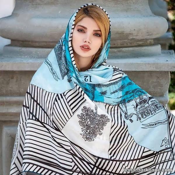 انواع روسری نخی در طرح های شیک و لاکچری