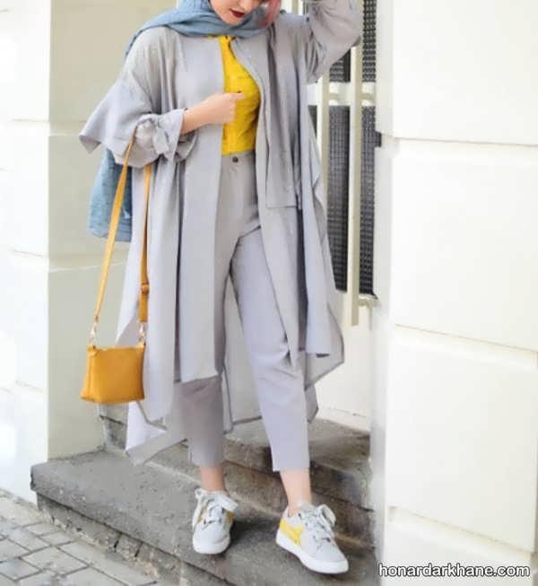 انواع سبک های جالب ست با لباس طوسی