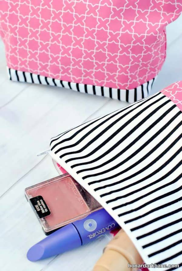 نحوه خیاطی کیف آرایش ساده و زیبا