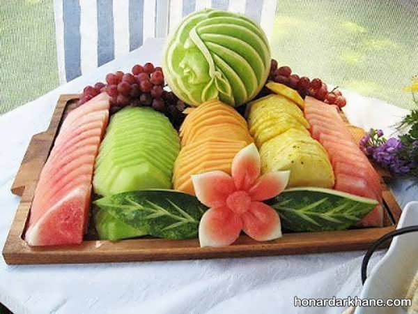 انواع چیدمان میوه در بشقاب