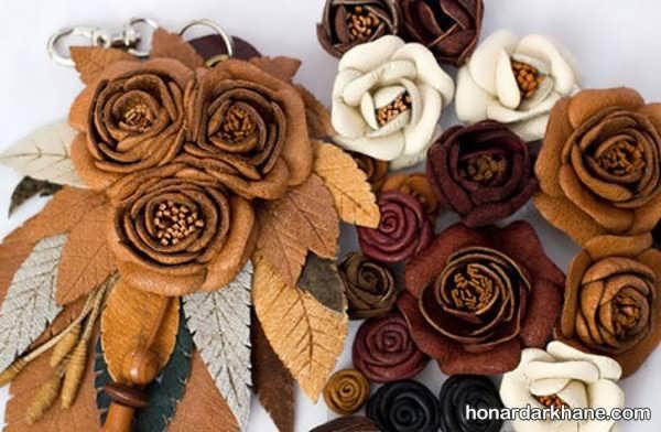 روش ساخت گل رز با چرم به شیوه ای ساده