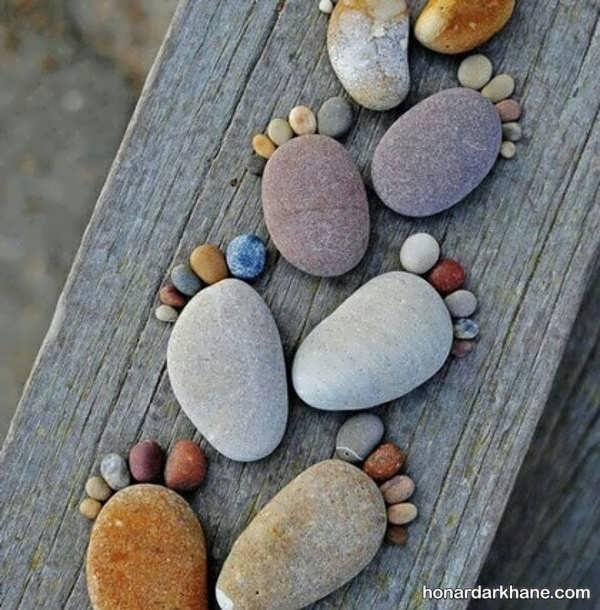 انواع هنردستی خلاقانه کودکانه با سنگ