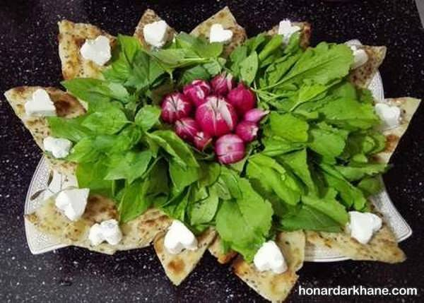 انواع تزیین نون پنیر سبزی با ایده های جالب