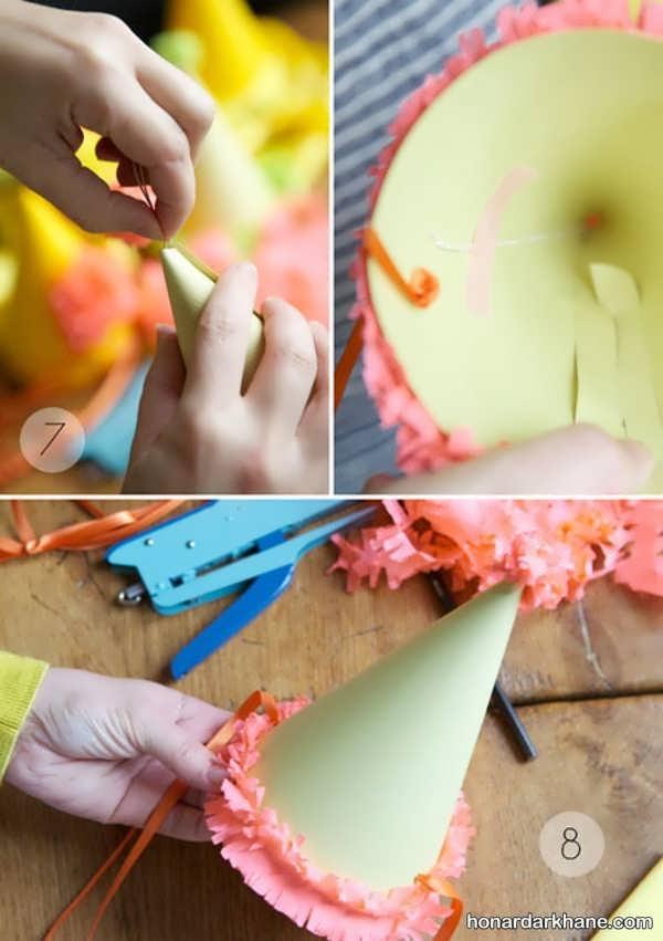 روش درست کردن کلاه تولد زیبا کاغذی
