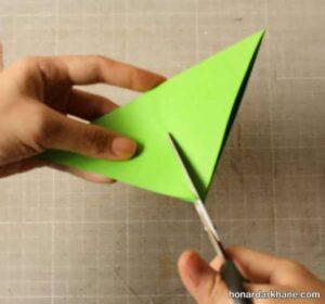 نحوه ساختن فرفره دو رنگ با کاغذ