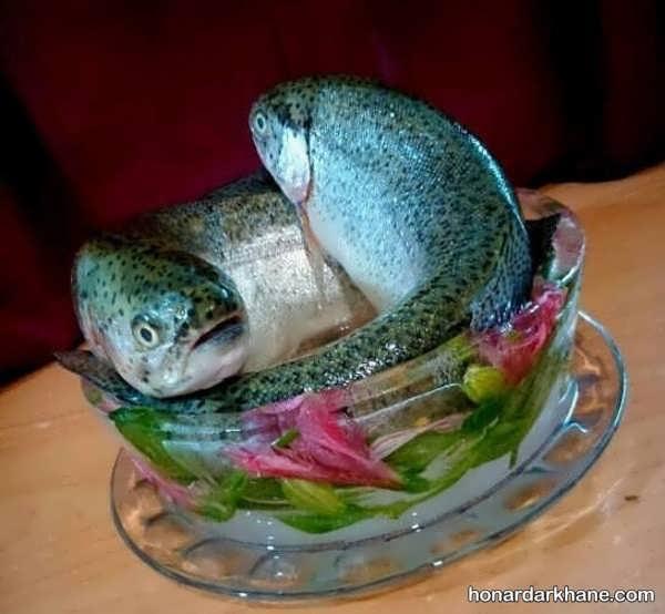 زیباترین انواع دیزاین شیک مرغ و ماهی یخچال عروس