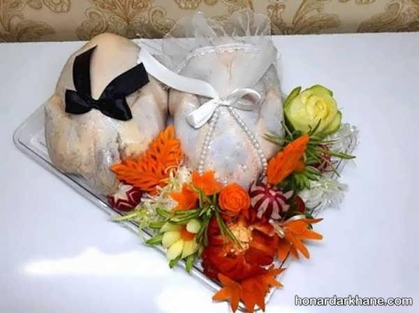 انواع چیدمان زیبا و جذاب مرغ و ماهی یخچال عروس