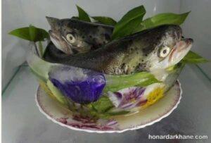 مدل های جالب تزیین مرغ و ماهی خام یخچال عروس