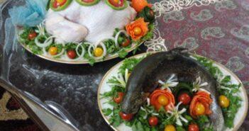 انواع تزیین جالب و شیک مرغ و ماهی یخچال عروس