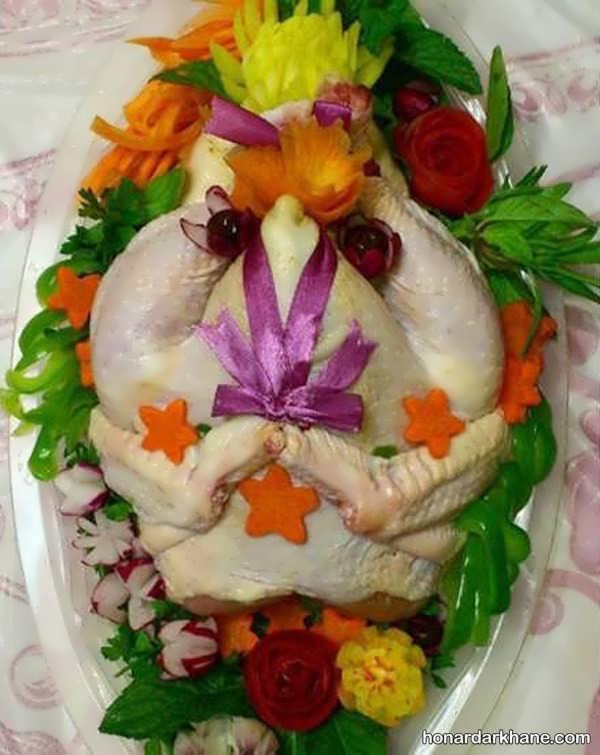 انواع چیدمان خاص و جدید مرغ و ماهی یخچال عروس
