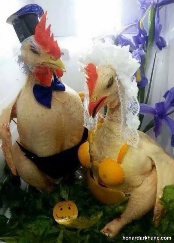 انواع چیدمان جدید و خلاقانه مرغ و ماهی یخچال عروس