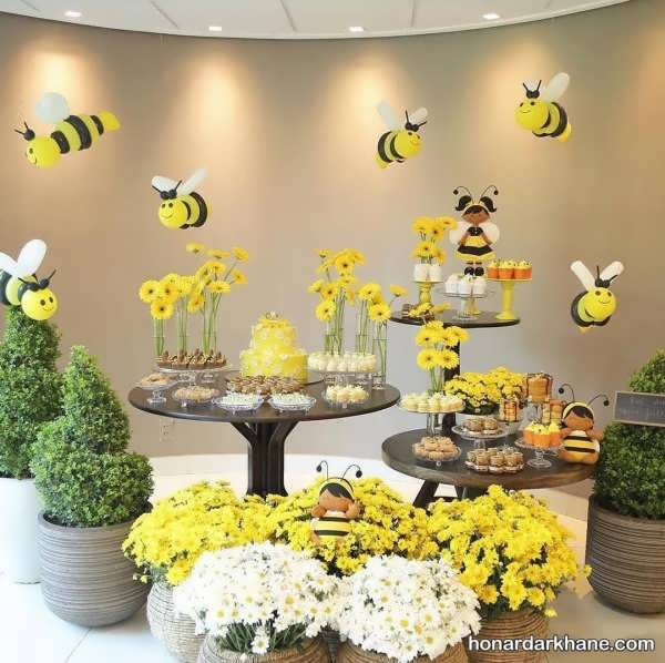 انواع دیزاین جالب و زیبا تولد با تم تولد زنبوری