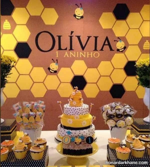 انواع ایده های جالب دیزاین تولد با طرح زنبوری